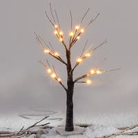 Costway 1.5Ft Christmas Xmas Brown Birch Snow Tree LED Light Warm Decorative Festival Party - as pic