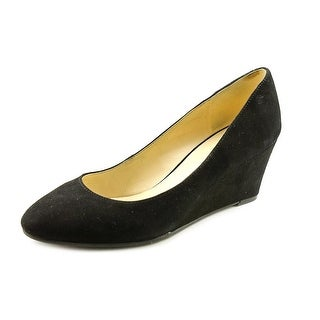 Nine West Ispy Women Open Toe Suede Black Wedge Heel