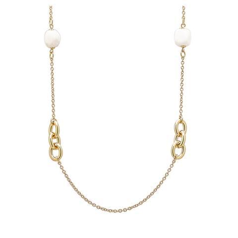 "Bronzoro 18 k Gold Overlay 38"" Rolo Chain & White Agate Necklace"