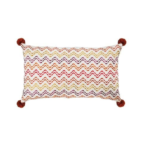 Multi Colored Zig Zag Style Pillow Cover with Orange Tassles 20x12-inch Pillow Cover Only Multi