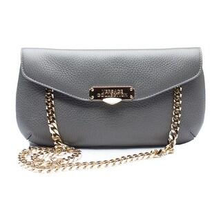 Versace Pebbled Leather Clutch Handbag - Grey - S