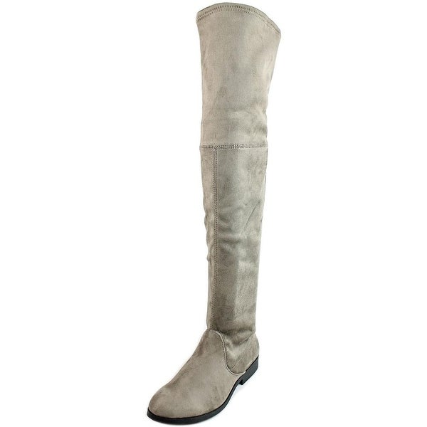 LFL Radikal Women Round Toe Canvas Gray Over the Knee Boot