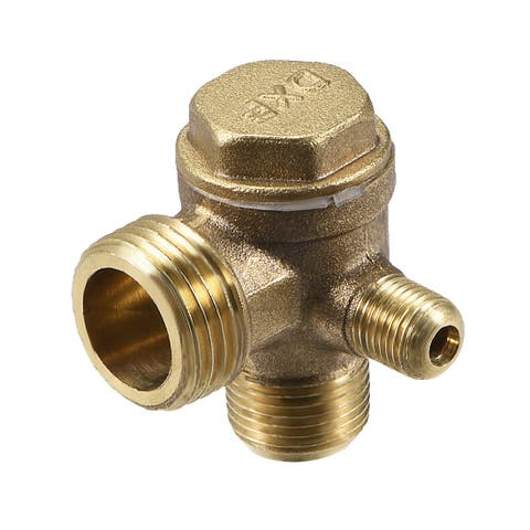"Air Compressor Check Valve 90 Degree Right Threaded Brass 1/8"" x 3/8"" x 1/2"" - 1/8"" x 3/8"" x 1/2"" Chamfer (1Pcs)"