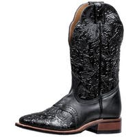 Boulet Western Boots Womens Cowboy Roper Tooled Wide Square Black