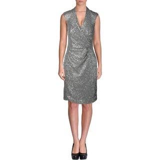 Lauren Ralph Lauren Womens Sequined Mesh Inset Semi-Formal Dress