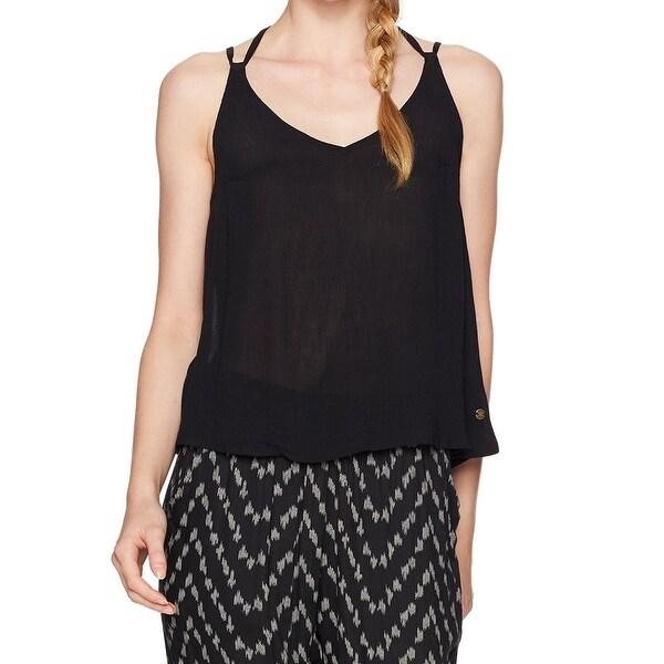 7403bdeccdc Shop Roxy Black Women's Size Large L Crinkled Strappy Tank Cami Top ...