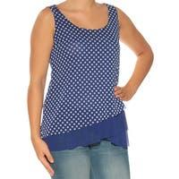 INC Womens Blue Polka Dot Sleeveless Scoop Neck Top  Size: S