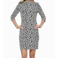 Joan Vass Black Women's Size Large L Floral Print Sheath Dress