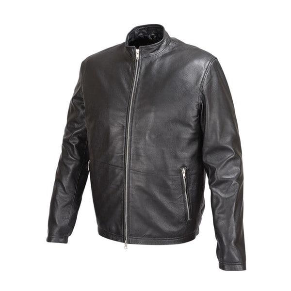 Mens Basic Leather Jacket Black Cafe' Racer Style FJ1