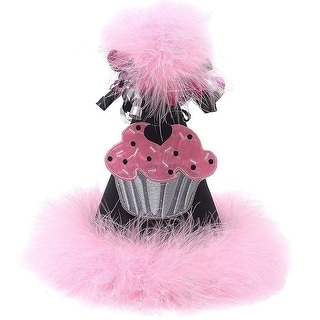 Girls Pink Black Feathery Rolled Ribbon Cupcake Applique Birthday Party Hat