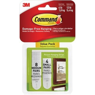 Command Picture Hanging Strips 12/Pkg-8 White Medium Sets & 4 White Small Sets