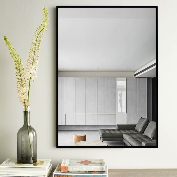 Modern Thin Frame Wall-Mounted Hanging Bathroom Vanity Mirror. Opens flyout.