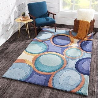 """Momeni New Wave Blue Hand-Tufted and Hand-Carved Wool Rug (7'9 X 7'9 Round) - 7'9"""" x 7'9"""" Round"""