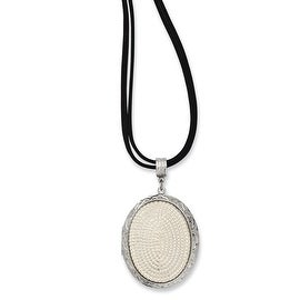 Silvertone Pearl Oval Locket on Double Cord Necklace - 30in