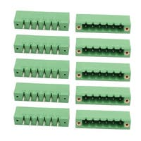 10Pcs AC 300V 15A 5.0mm Pitch 6P Terminal Block Wire Connection for PCB Mounting