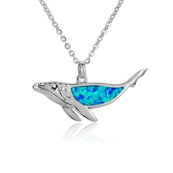 """Whale Necklace Opal Sterling Silver Pendant 18"""" Chain"""