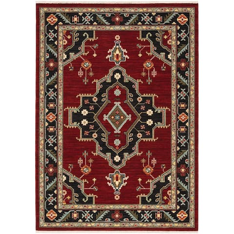 Leander Center Medallion Fringed Wool Blend Area Rug