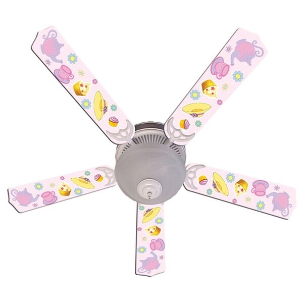 Pink Tea Party Designer 52in Ceiling Fan Blades Set - Multi