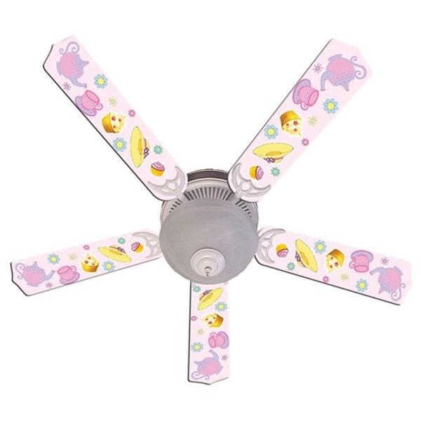 Pink Tea Party Print Blades 52in Ceiling Fan Light Kit - Multi
