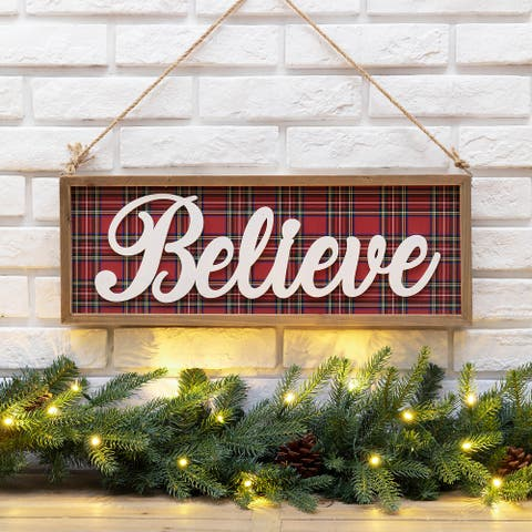 """Glitzhome 24""""L Wooden Double-signed Peace & Believe Wall Decor"""