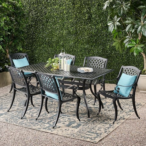 Cayman Outdoor 7-piece Aluminum Dining Set by Christopher Knight Home