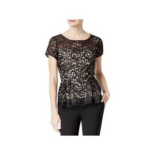 Alex Evenings Womens Petites Blouse Lace Peplum