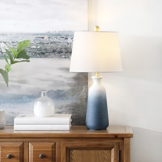 "Link to Safavieh Lighting 23-inch Narem White/ Blue LED Table Lamp - 12"" W x 12"" L x 23"" H Similar Items in Table Lamps"