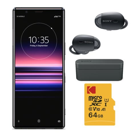 Sony Xperia 5 Screen Unlocked Smartphone with Headphones Bundle - Black