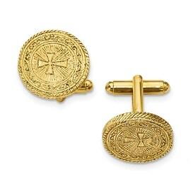 14k Gold IP Cross Cuff Links