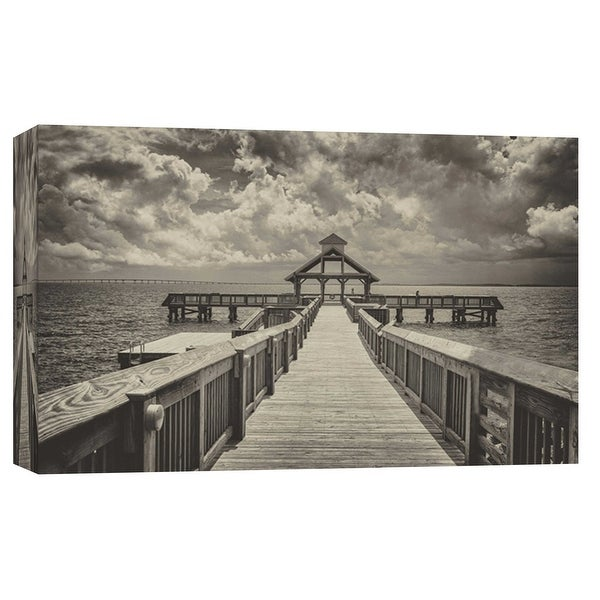 "PTM Images 9-103778 PTM Canvas Collection 8"" x 10"" - ""Sepia Pier"" Giclee Nautical and Ocean Art Print on Canvas"