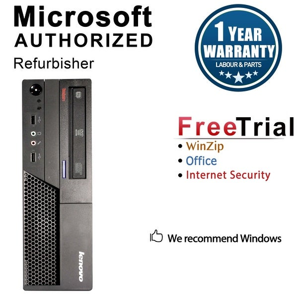 Lenovo M58P Desktop Computer SFF Intel Core 2 Duo E8400 3.0G 4GB DDR3 160G Windows 10 Pro 1 Year Warranty (Refurbished) - Black