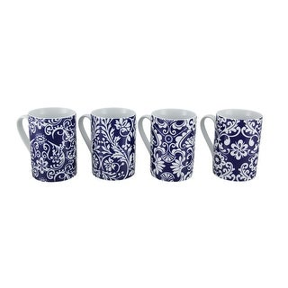 4 Piece Blue & White Floral Ivy Porcelain Coffee Cup Set