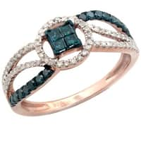Awesome 0.48ct Princess and Round Blue Color Diamond with Real Diamond Designer Engagement Ring