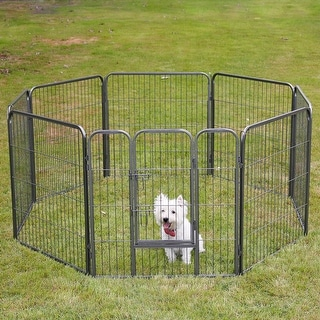 Fur Family 32-inch Pet Playpen Exercise Playpen Fence 8 Panel Kennel Cage Dog Cat Foldable