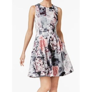 Calvin Klein Womens Floral Print Fit & Flare Sheath Dress