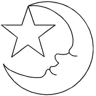 """Quilt Stencils By Hari Walner-3-1/2"""" Moon & Star"""