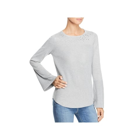 Design History Womens Pullover Sweater Embellished Flare Sleeve - Snow Globe Gray
