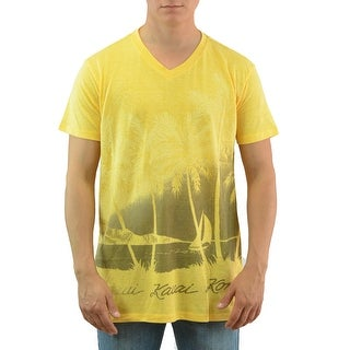 Cohesive & Co. Hawaiian Palms Graphic Printed Front Men's Casual T-shirt, Yellow