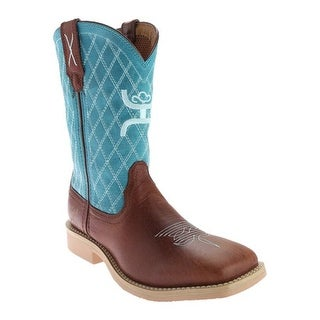 Twisted X Boots Children's YHY0006 Cowkid's Hooey Cowboy Boot Cognac/Turquoise Leather