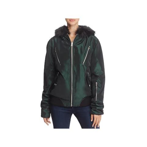 Blank NYC Womens Parka Coat Reversible Faux Fur