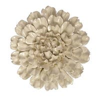 "13"" Large Cream Colored Ceramic Blooming Flower Hanging Wall Decoration - White"