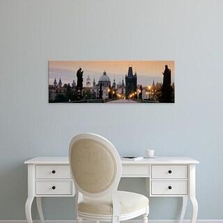 Easy Art Prints Panoramic Images's 'Lit Up Bridge At Dusk, Charles Bridge, Prague, Czech Republic' Premium Canvas Art