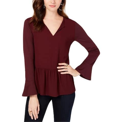 Michael Kors Womens Ruffled Pullover Blouse