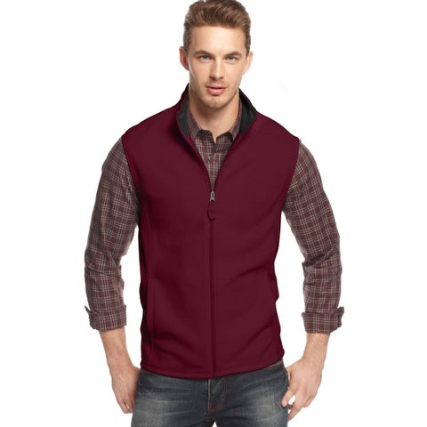 CLUB ROOM Full Zip Polar Fleece Mockneck Vest Cherry Wine Solid X-Large XL $49