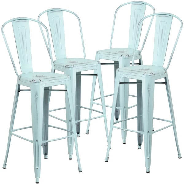 """4 Pack 30"""" High Distressed Metal Indoor-Outdoor Barstool with Back. Opens flyout."""
