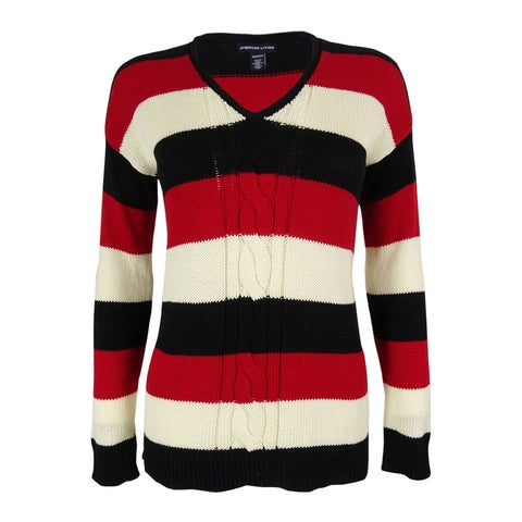 American Living Women's Striped Cable V-Neck Sweater