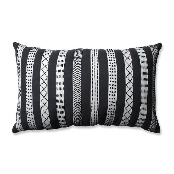 18.5 Stormy Grey Cream White and Coal Black Tribal Bands Rectangular Throw Pillow