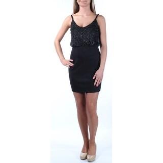 Womens Black Sleeveless Above The Knee Blouson Cocktail Dress Size: 1