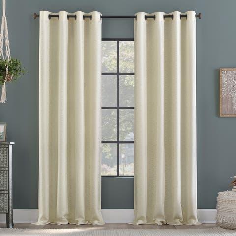 Clean Window Subtle Woodgrain Recycled Fiber Semi-Sheer Grommet Curtain Panel, Single Panel