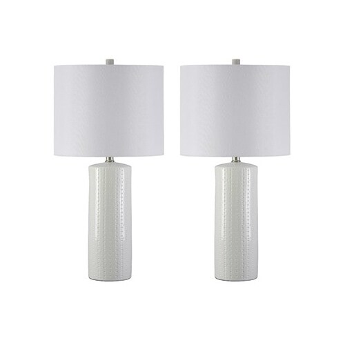 Ashley Furniture L177904 - Set Of 2 Steuben White Ceramic Table Lamp w/ Fabric Drum Shade